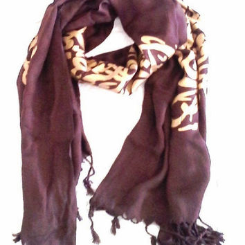 Arabic Calligraphy Scarf - Colors Available