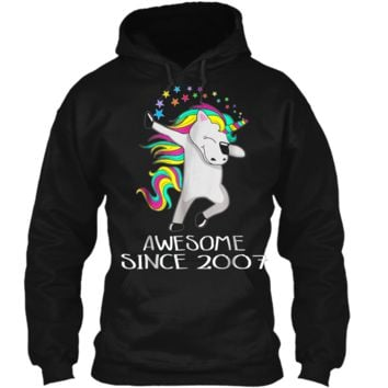 Kid 11 Yrs Old 11th Birthday Unicorn  Gift 2007 Dabbing Pullover Hoodie 8 oz