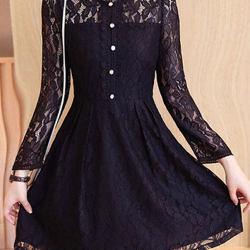 Korean Stand Collar Single-breasted Long Sleeve High Waist Mini A-line Lace Dress