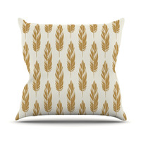 "Amanda Lane ""Feathers Yellow Cream"" Mustard Pattern Throw Pillow"