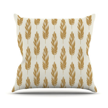 "Amanda Lane ""Feathers Yellow Cream"" Mustard Pattern Outdoor Throw Pillow"
