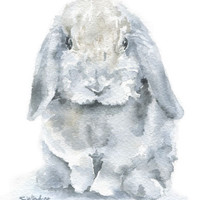 Mini lop Rabbit Watercolor Painting - 4 x 6 - Giclee Fine Art Print