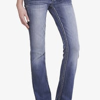 Medium Wash Low Rise Thick Stitch Barely Boot Jean from EXPRESS