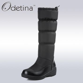 Fashion Online Odetina Waterproof Snow Boots Large Size Women Knee High Boots Flat Heels Handmade 2017 Winter Boots Women Fashion Shoes Brand