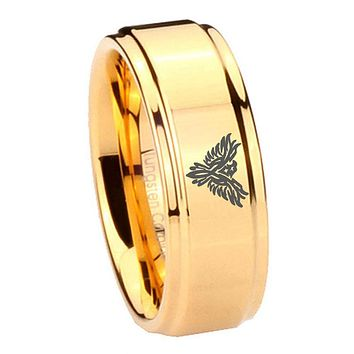 8MM Glossy Gold Step Edges Phoenix Tungsten Carbide Laser Engraved Ring