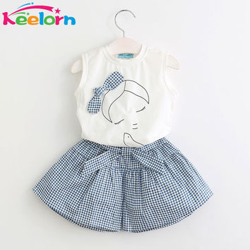 Keelorn Brand Summer Girls Clothing Sets Fashion Cotton print short sleeve T-shirt and shorts girls clothes sport suits