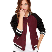 Color Block Striped Rib  Long Sleeves Varsity Jacket