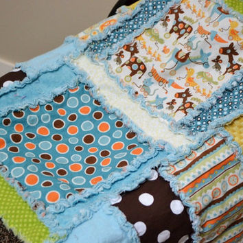 CAR SEAT COVER, Nursing Cover, Rag Quilt, Baby Blanket 3 in 1, Made to Order, Red Blue, Riley Blake Mod Tod