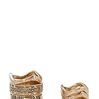 FOREVER 21 Etched Ring Set Antic Gold