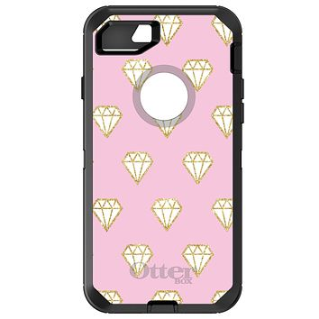 DistinctInk™ OtterBox Defender Series Case for Apple iPhone or Samsung Galaxy - Pink & Gold Print - Diamond Pattern