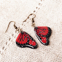 Butterfly wing earrings, Red jewelry, Butterfly jewelry, Wing earrings, Red earrings, Bug, Insect, Butterfly jewelry, Handmade jewelry, Red