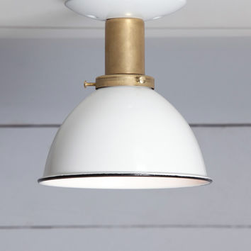 White Shade - Brass Ceiling Mount Light