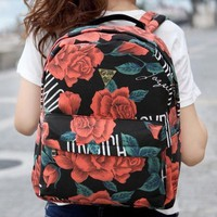 Retro Rose Canvas Backpack