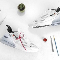 """Off white x Nike Air Max 270 Running Shoes Sneaker """"OW WHITE&ICE BLUE"""" AH8050-100"""