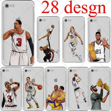 basketball Cartoon Curry McGrady Kobe Bryant soft silicone phone cases cover for iphone 6 6S 7 8 plus 5S SE X Coque