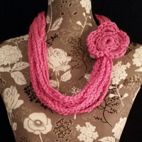 color: Hydrangea // Pink Crochet Jewelry, Romantic Scarf, Pink Necklace, Pink Scarf, Pretty Flower Scarf, Favorite Color Pink, Gift for her