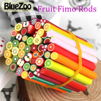 BlueZoo 50pcs Fimo Nail Stickers Fimo Canes Fruit 3D Nail Art Decoration Polymer Clay Animal Flower Fimo Rods Nail DIY Design