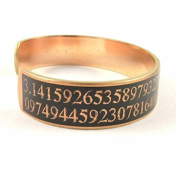 Science Jewelry - Steampunk Cuff Bracelet - Mathematical Pi Jewelry - Geek Gift - Skinny Cuff