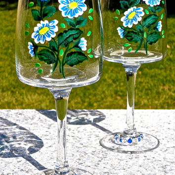 Painted Wine Glasses With Blue Flowers And Beaded Wine Glass Charms, Mothers Day Gift, Birthday Gift, Wedding Gift, Gifts For Her