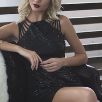 Holiday Sequined Dress - Black
