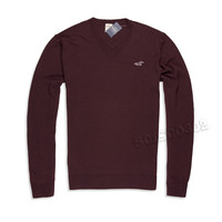 Hollister Sweater V Neck Maroon Pullover