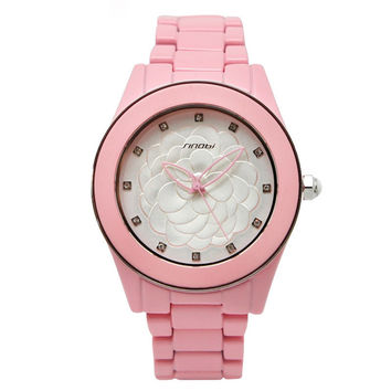 Trendy Good Price Awesome Gift Great Deal Stylish Designer's New Arrival Ladies Stainless Steel Band Floral Waterproof Watch [8278693825]