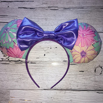 Disney Inspired Flower and Garden Floral Print Mickey Ears