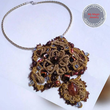 The Vintage Gold Pendant/ Tatting Jewelry/ Antique Filigree Pendant/ Tatting Lace/ Vintage Tie-dye Lace/ Gift for Her/Statement Necklace