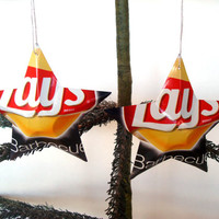 Lays BBQ Potato Chips Aluminum Stars - 2 Recycled Christmas Ornaments or Gift Toppers - Pop Culture Decor