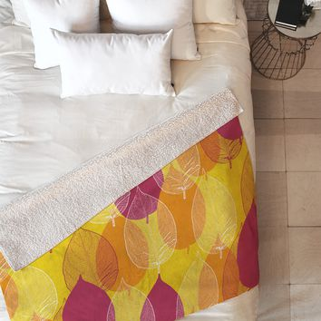 Aimee St Hill Big Leaves Yellow Fleece Throw Blanket