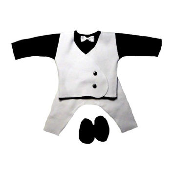 Baby Boy's Black & White Suit with White Vest