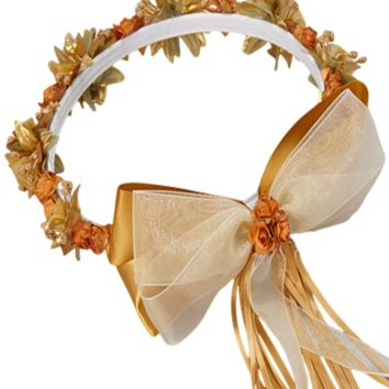Gold Floral Crown Wreath Handmade with Silk Flowers, Back Satin Ribbons & Bows (Girls)