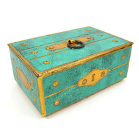 Treasure Chest - Vintage 1960s Tin Candy Box Made in West Germany, Turquoise with Gold Trompe L'Oeil Escutcheon & Hardware