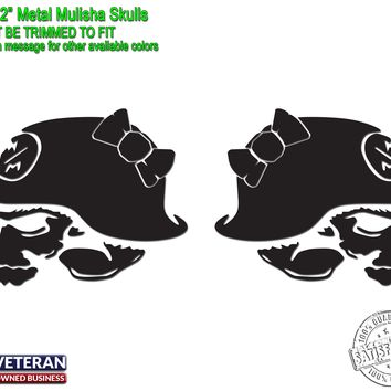"Girl Skull Bow Vinyl Metal Mulisha Decals 20"" X 20"" Window Truck Bedside Jeep"