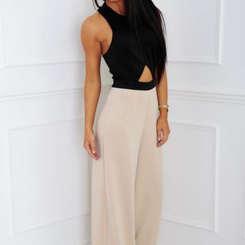 Bailey Black & Nude Halter Neck Jumpsuit | Pink Boutique