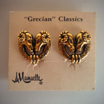 Vintage 60's Mamselle Earrings Gold 'Grecian' Classics Ram Clip-ons