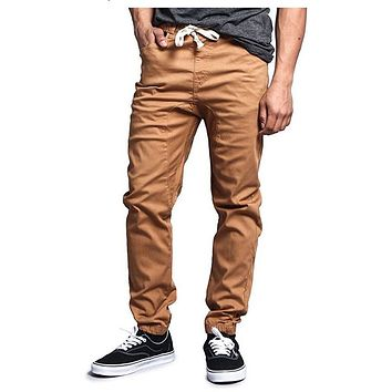 Solid Color Harem Twill Jogger Pants in Wheat