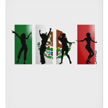 "Mexican Flag - Dancing Silhouettes 9 x 10.5"" Rectangular Static Wall Cling by TooLoud"