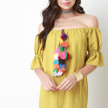 Colorful Tassel Ruched Sleeve Bardot Dress
