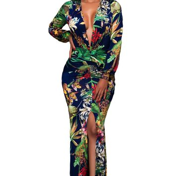 Chicloth Plunging V Neck Floral Print Front Slit Long Sleeve Maxi Dress