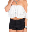 Cold Shoulder Ruffle Crop Top - White - Large