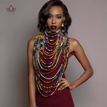 Ankara Beautiful Multi Strand Necklace African Bold Colorful Long Exotic