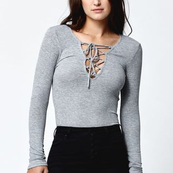 LA Hearts Lace-Up Ribbed Long Sleeve Top - Womens Tee