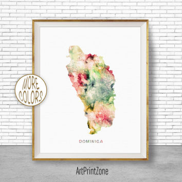 Dominica Art, Dominica Print, Office Art Print, Watercolor Map, Dominica Map Print, Map Art, Office Decorations, Country Map, Art Print Zone