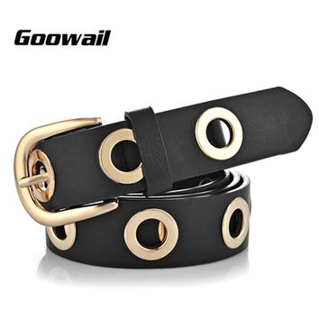 Goowail 2017 fashion Belts for Women Grommet Duo euramerican style designer pu Leather strap for