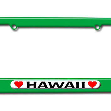 Hawaii Love with Hearts License Plate Frame
