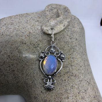 Antique vintage Blue White Opal glass Silver dangle earrings