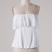 Strapless crop top with lace detailing on the front.