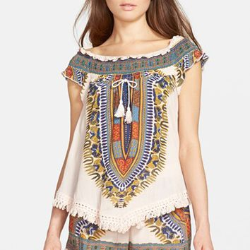 Women's Band of Gypsies Tassel Front Woven Top,