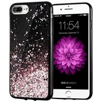 iPhone 7 Plus Case, Caka [Starry Night Series] Bling Flowing Floating Luxury Liquid Sparkle TPU Bumper Glitter Case for iPhone 6 Plus/6S Plus/7 Plus (5.5 inch) - (Rosegold)